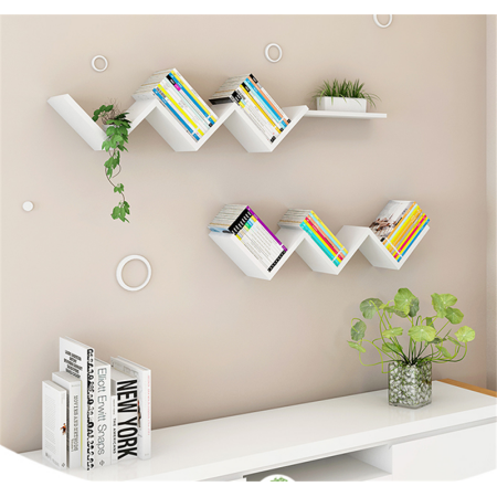 Wall Book Shelf Modern Fashionable Creative Floating Wall Shelf White Walmart Com In 2020 Wall Bookshelves Shelves In Bedroom Floating Wall Shelves White