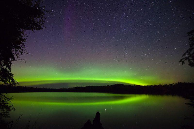 aurora borealis over tofte lake 1 northwoods minnesota