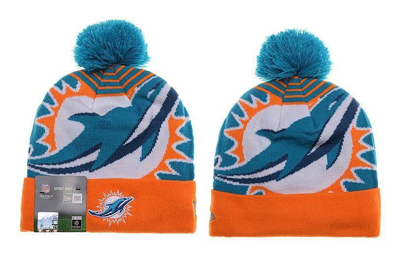ce0a0f9b5 Mens / Womens Miami Dolphins New Era NFL Fashion Sports Logo Whiz Cuffed  Knit Pom Beanie Hat - Aqua / Orange