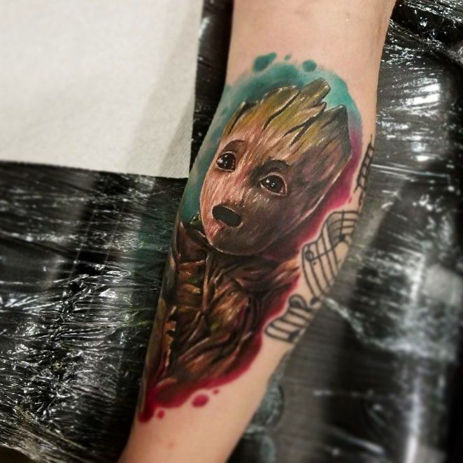 baby groot tattoo by kris busching best tattoos pinterest tattoo marvel tattoos and tatting. Black Bedroom Furniture Sets. Home Design Ideas
