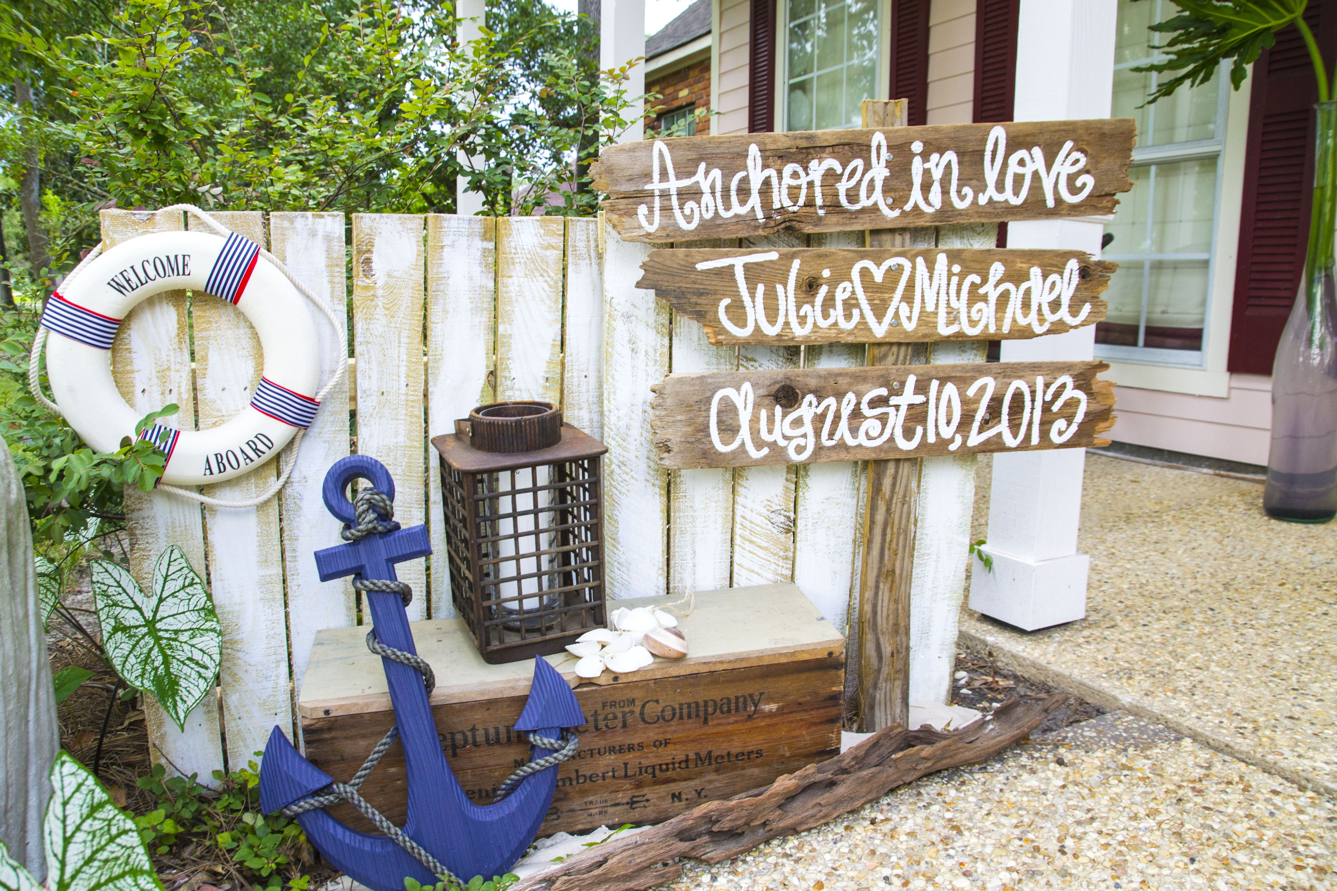 Nautical Engagement Party*Angela Marie Events*Baton Rouge, LA #nauticalparty #woodensign