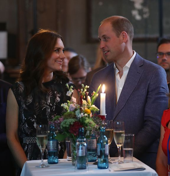 Britain's Princess Kate, the Duchess of Cambridge, and Britain's Prince William, Duke of Cambridge attend a reception at 'Claerchens Ballhaus' dance hall in Berlin, on the second day of the British royal couple visit to Germany, on July 20, 2017 in Berlin.