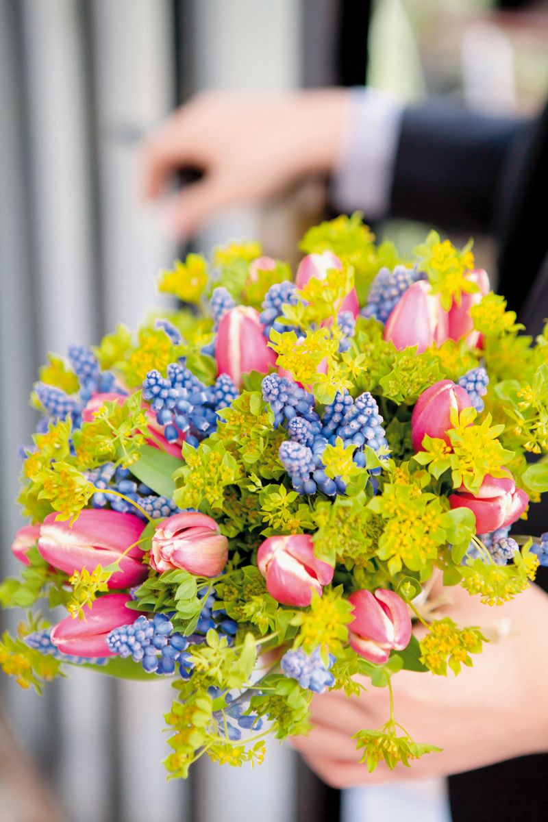 bouquet r aliser avec les premi res fleurs du printemps des tulipes et des muscaris. Black Bedroom Furniture Sets. Home Design Ideas