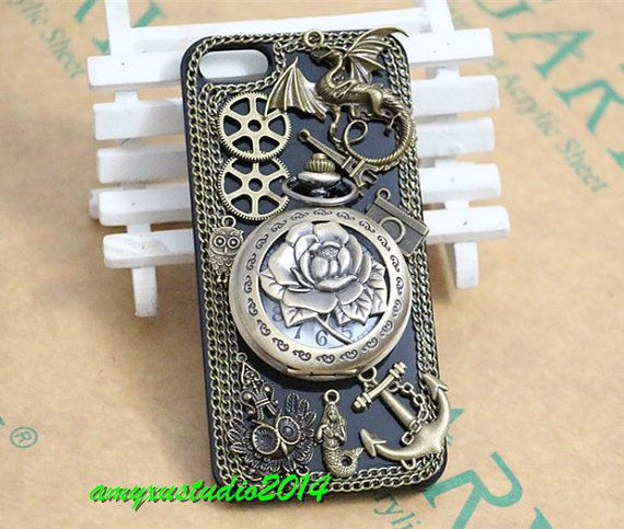 Steampunk antique rose watch iphone 5 by amyxustudio2014 on Etsy, $27.99