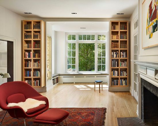 martins modern family room with library alcove window seat