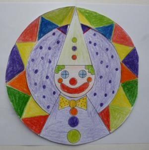 bastelsachen/Fasching-Clown-bunt-bemalte-Spiralen