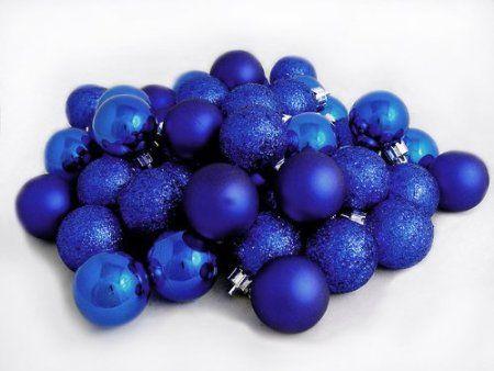 Amazon.com: 96ct Royal Blue Shatterproof 4-Finish Christmas Ball Ornaments  1.5