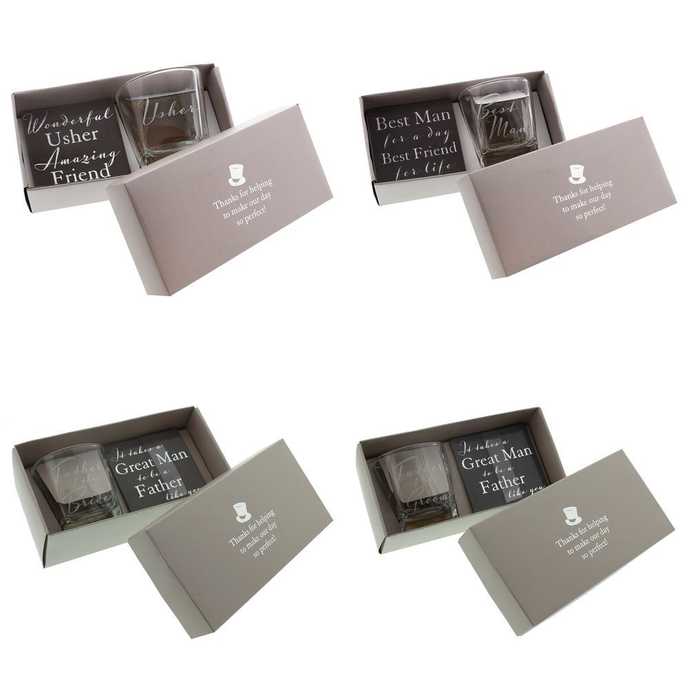 Wedding Thank You Gifts Ideas Whisky Gl Coaster Best Man Usher Father Bride In Home Furniture Diy Supplies Other Ebay