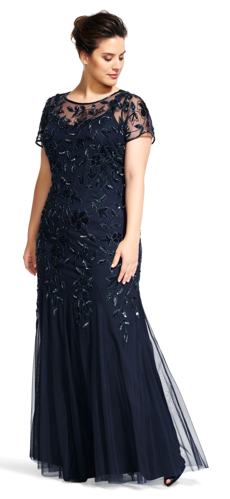 56d61afc6dd0 Floral Beaded Godet Gown with Sheer Short Sleeves