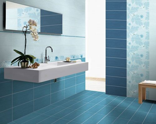 Blue Bathrooms blue bathroom,blue ceramic tile,wall mounted sink,blue floor tile