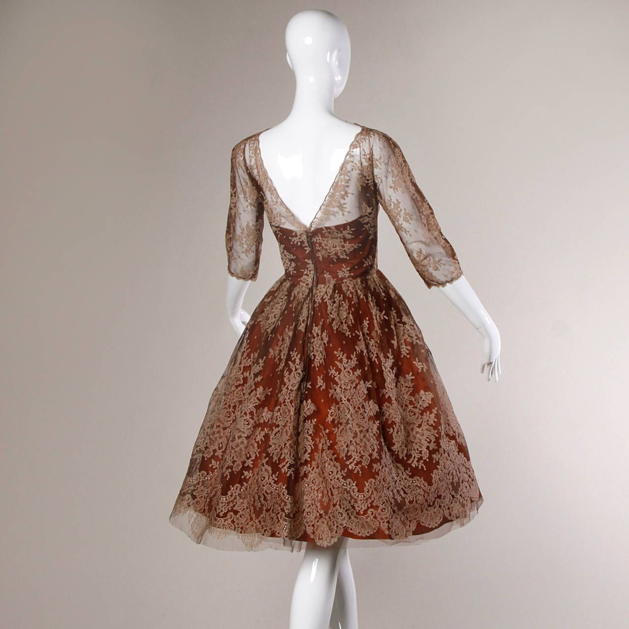 Dreamy 1950s Vintage Brown Tulle Chantilly Lace Cocktail Dress Cocktail Dress Vintage Evening Dresses Vintage Cocktail Dress Lace [ 1280 x 1280 Pixel ]