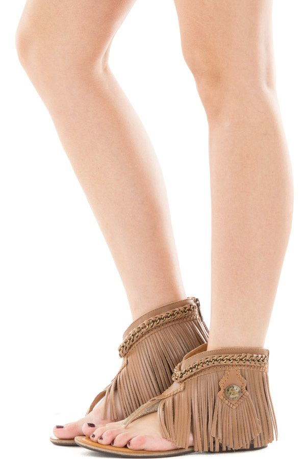 d897944fd Lime Lush Boutique - Tan Fabric Sandal with Leather Fringe and Chain Detail