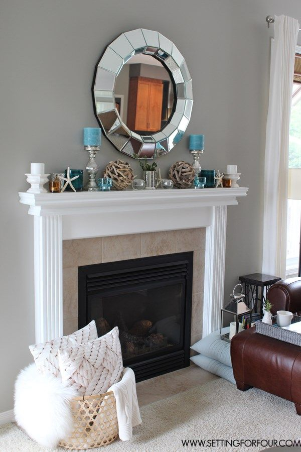 Mantel Decor Ideas : Blue, Taupe And White Palette   Setting For Four