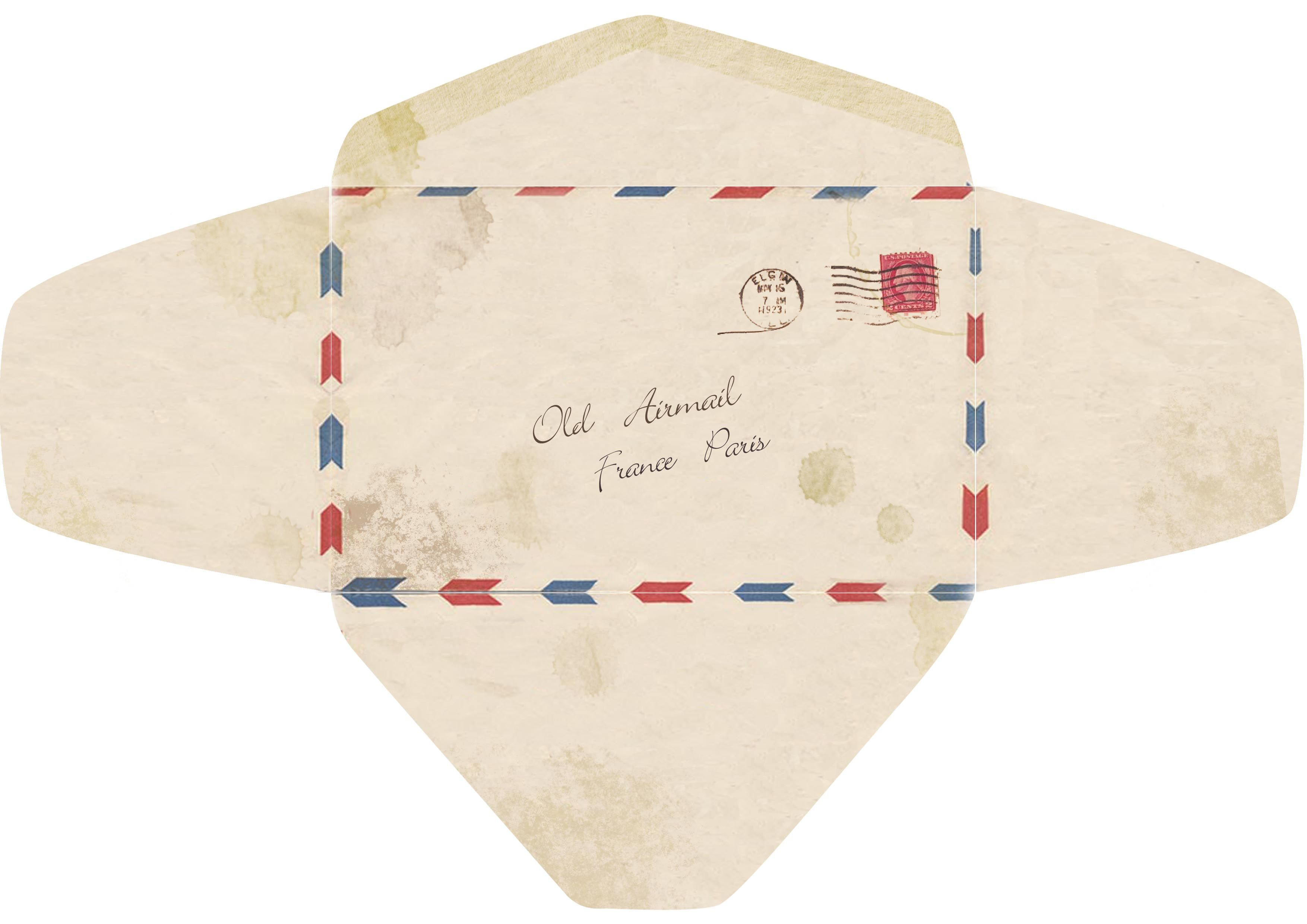 Template For An Old Fashioned Airmail Envelope.