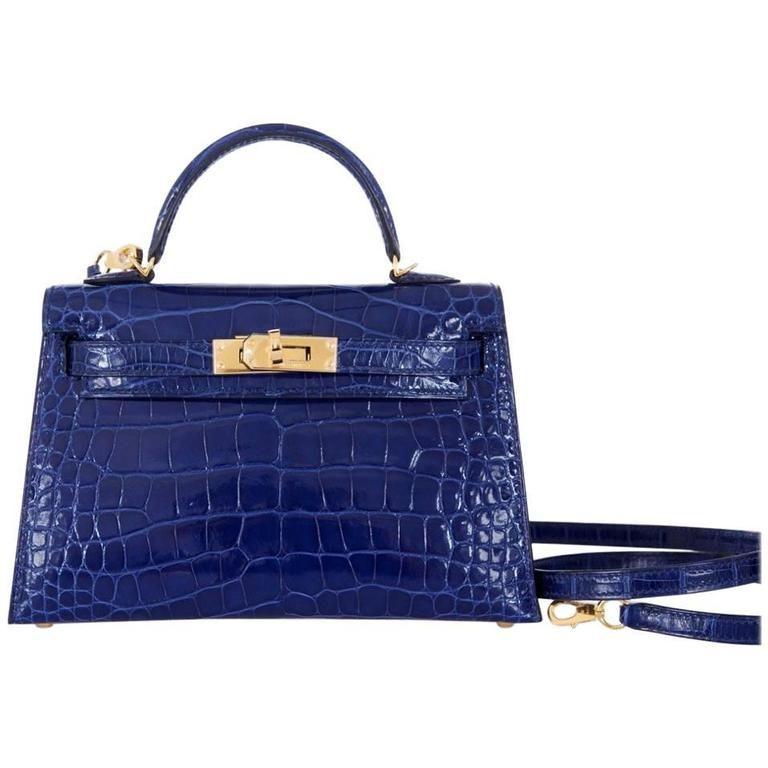 5558f45716 Limited Edition Hermes 20cm Blue Sapphire alligator Mini Sellier Kelly Bag  Gold