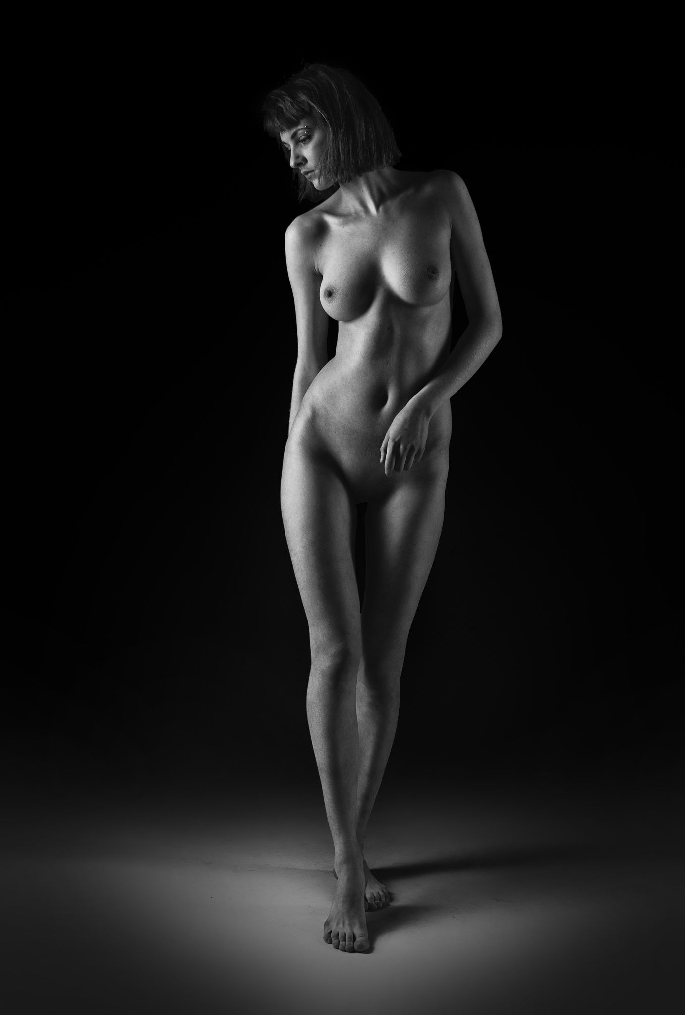 Tattooed Nude Black And White Digital Art By Kaylee Mason