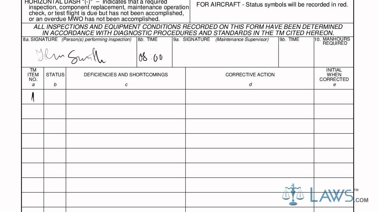 Learn How To Fill The Da Form 2404 Equipment Inspection And Maintenance Worksheet Intended For Equipment Fault Report Template