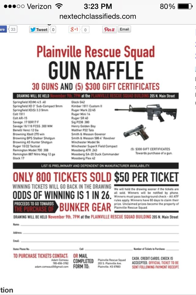 Raffle flyer - don\u0027t like the guns, but the layout might work ok for
