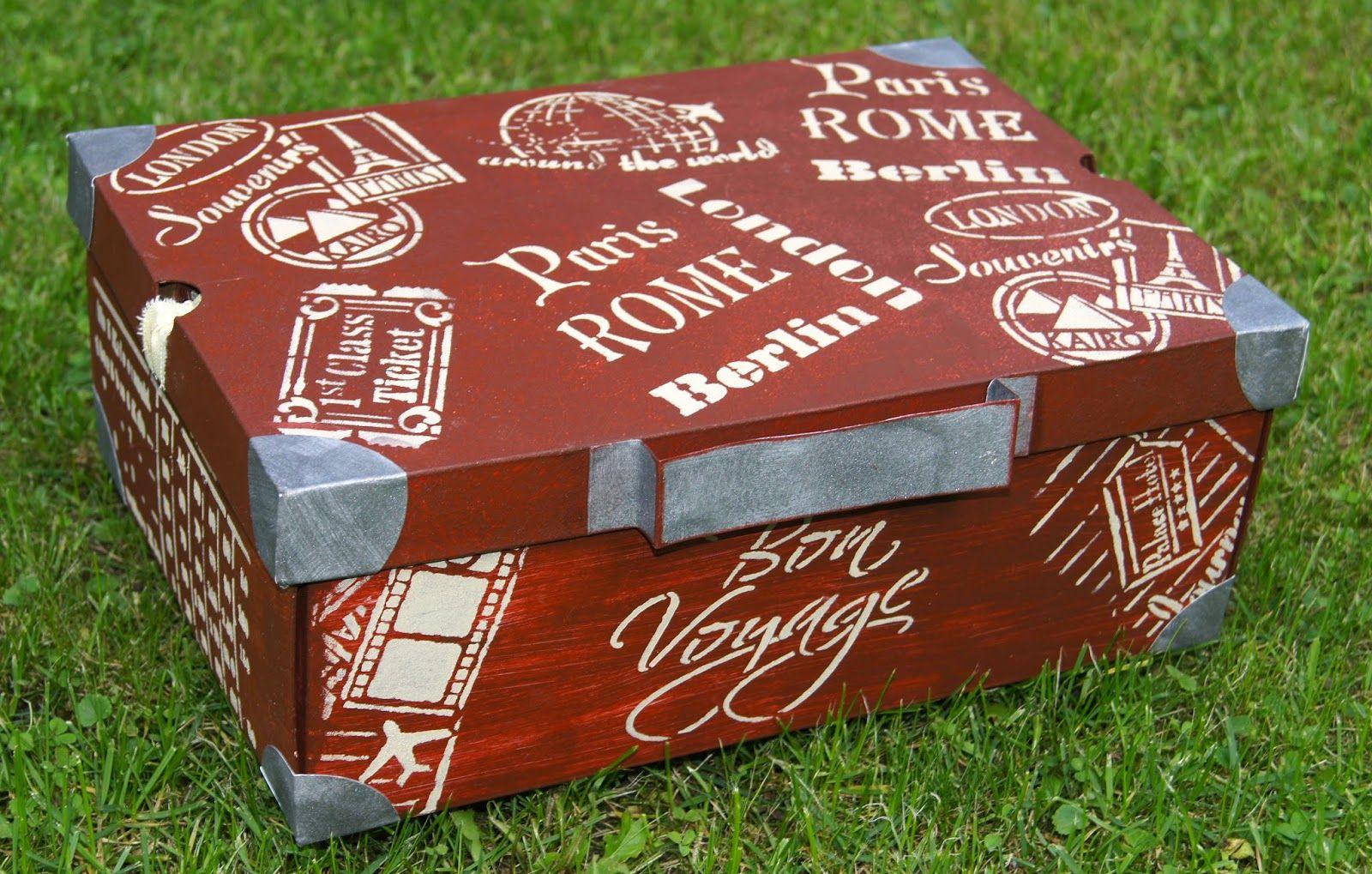 koffer aus schuhkarton mit schablonen von viva decor rusty farbe und 3d stempelfarbe sand. Black Bedroom Furniture Sets. Home Design Ideas