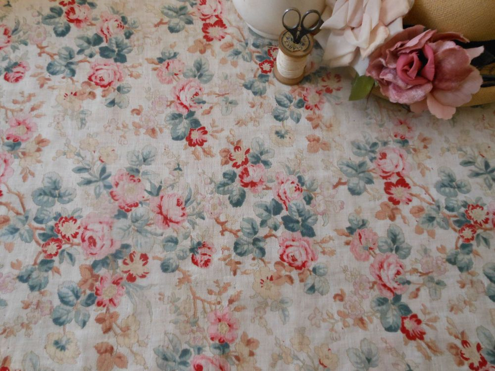 Antique French Cotton Fabric~Fabulous Roses~coral red pink dusty green brown