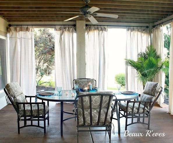 Inexpensive Outdoor Curtains Using Curtain Rods Out Of