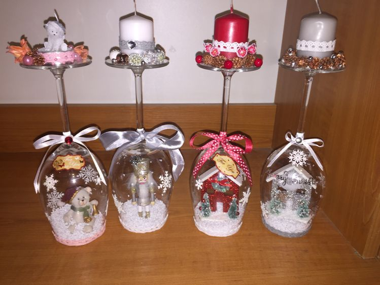 Christmas Wine Glass Candle Holder Diy Home Decor Ideas Beautiful Christmas Decor Wine Glass Snow Globe Christmas Candle Holders Christmas Crafts For Gifts