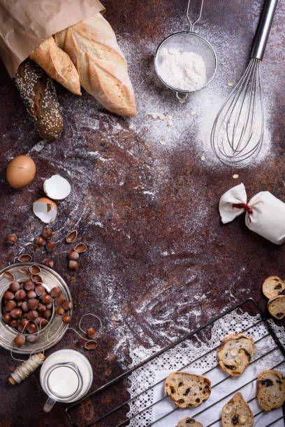 Bakery Produce Bread Baguette Cookies Over Rustic Background Food Bakery Bread Bakery