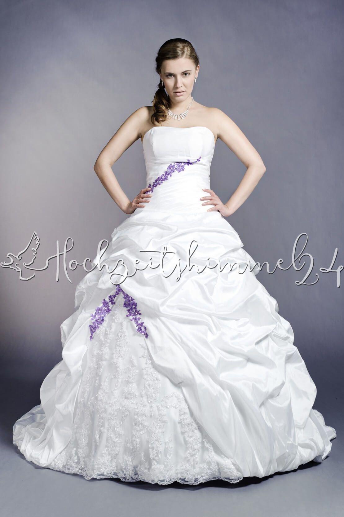 Pharbee Brautkleid A-Linie lila Taft Spitze Perlen Raffungen