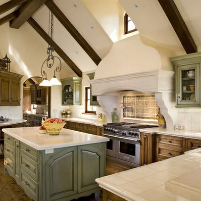 Exposed Beams Wood Cabinets With White Walls