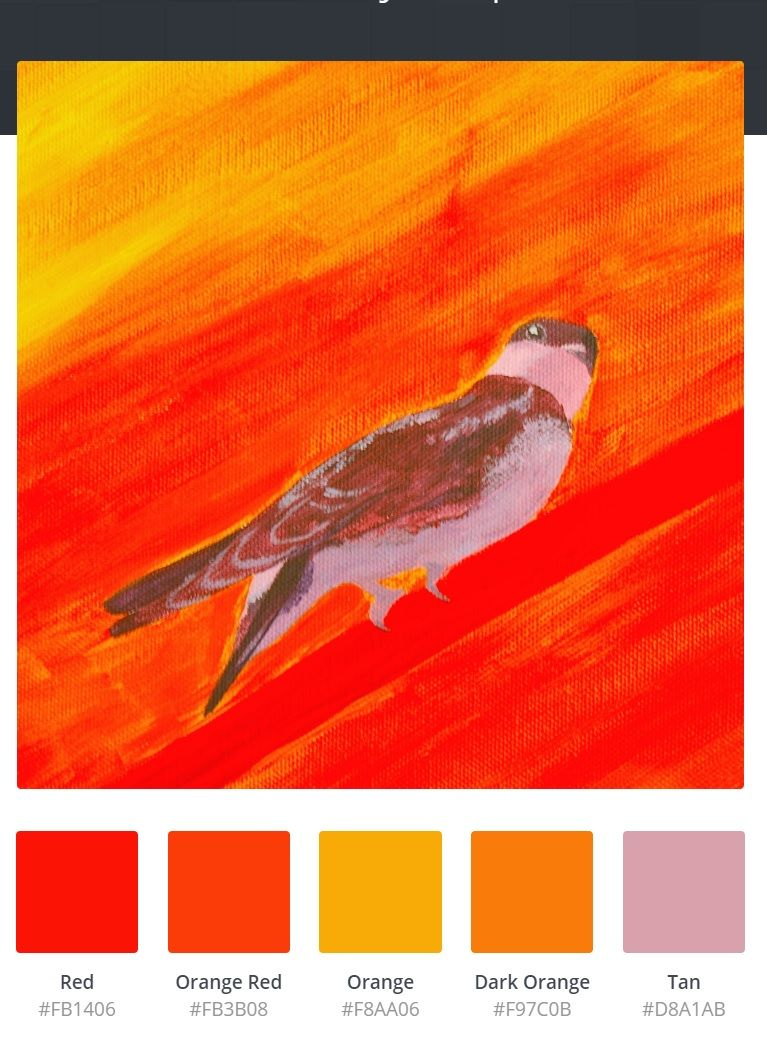 Bird Painting Color Palette Purple Swallow In Sunset Red Orange Yellow And Tan Created By Canva