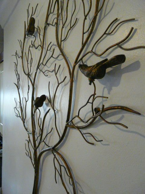 Large outdoor metal artwork contemporary metal wall art large gold birds in a tree