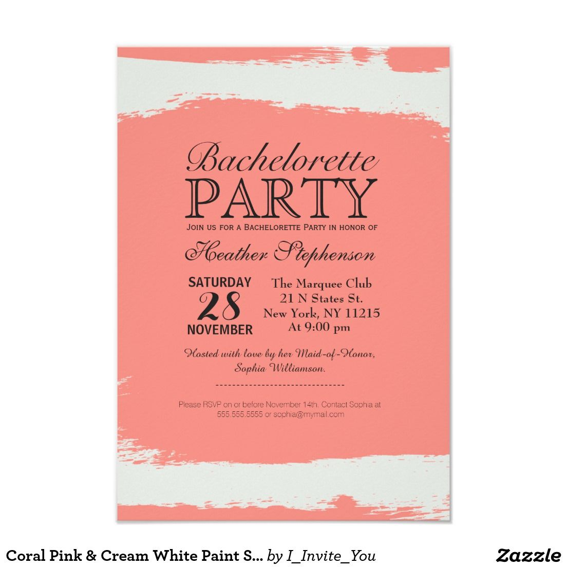 Coral Pink & Cream White Paint Strokes 3.5x5 Paper Invitation Card