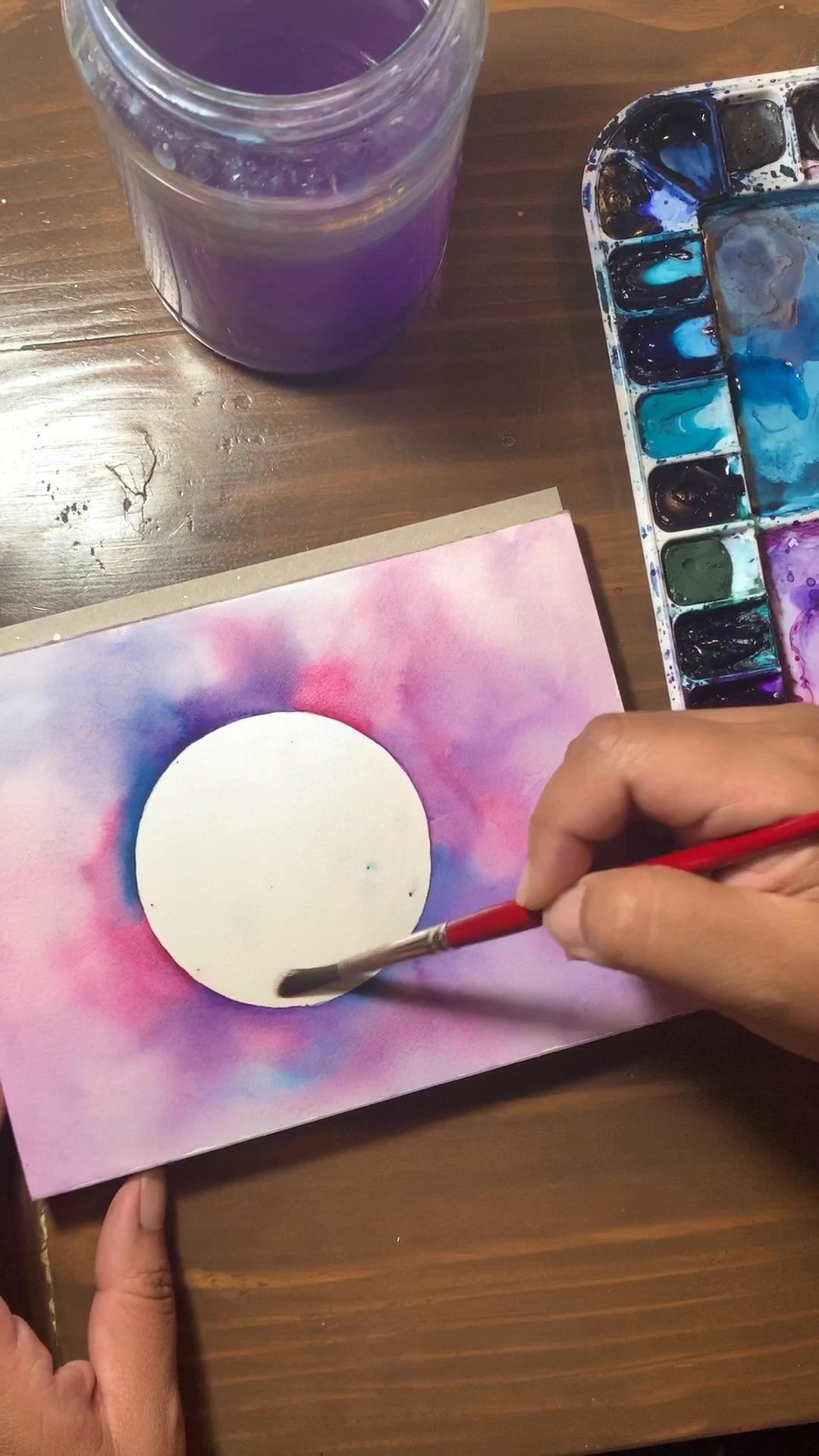 Shimmering Watercolor Moon