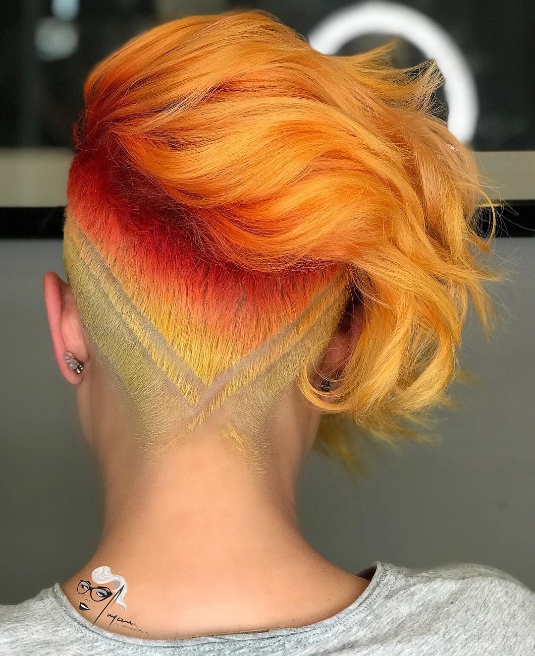 bunte ideen für kurze haare   designs für rasierte
