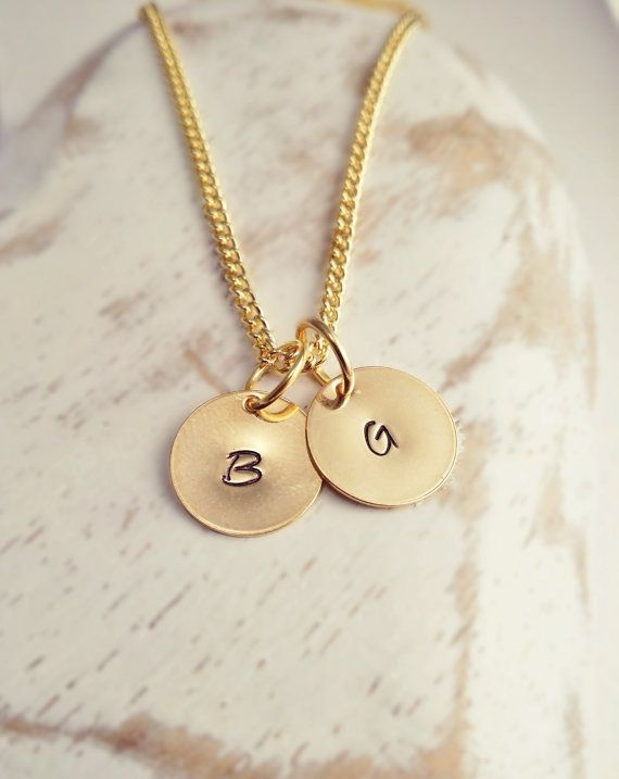 Gold Initial Necklace - Handstamped on Gold Discs - Personalised Jewellery - Gold Plated Necklace - Valentine Gift