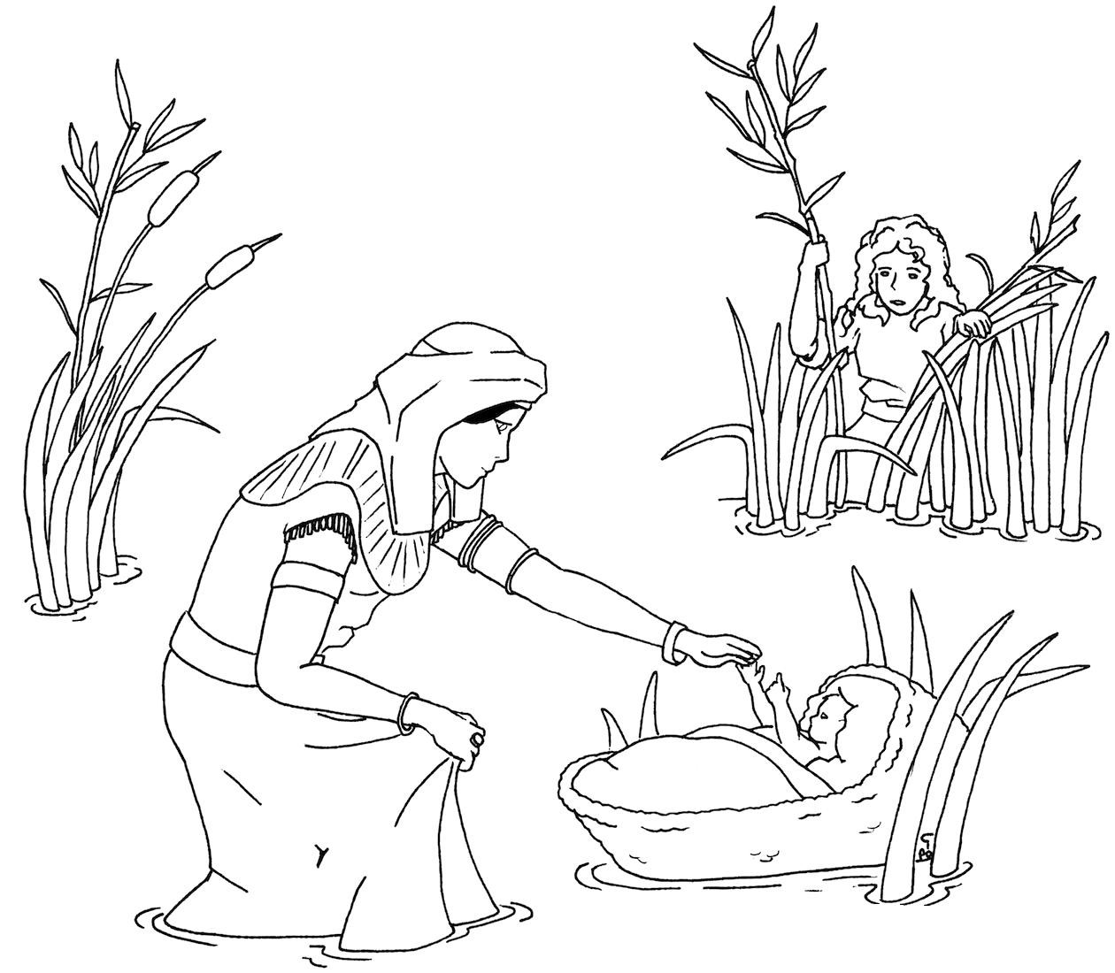 The Story Of Baby Moses Coloring Pages Coloring Pages Sunday