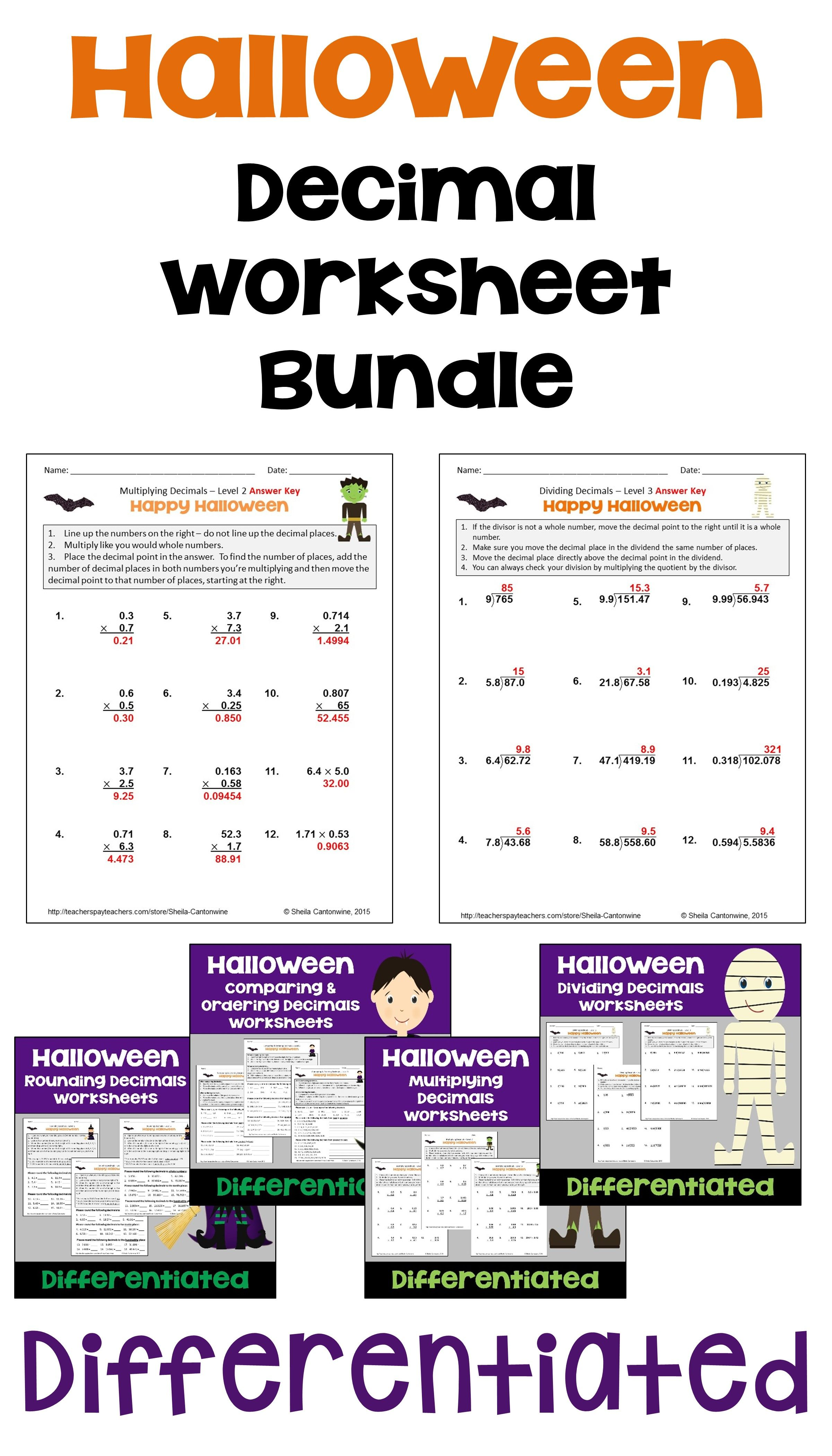 Halloween Math Decimal Worksheet Bundle With Printable and Digital Options    Halloween math [ 4200 x 2400 Pixel ]
