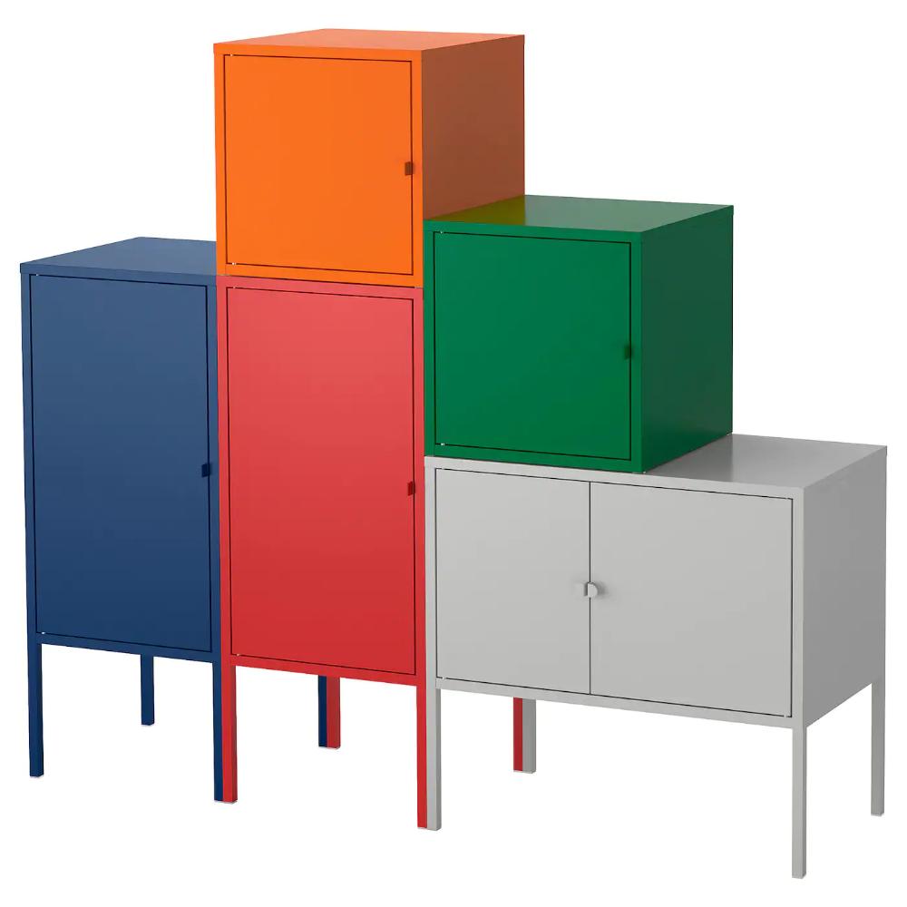 Lixhult Combinaison De Rangement Bleu Fonce Rouge Orange Gris Vert Fonce 130x117 Cm Ikea Ikea Lixhult Meuble Bas Rangement Meuble Rangement