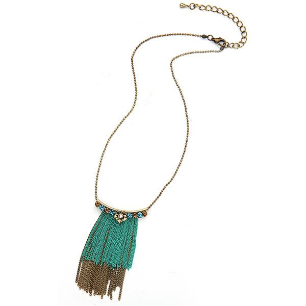 Ruby Rocks Jewellery Tassel Drop Necklace (22 AUD) ❤ liked on Polyvore featuring jewelry, necklaces, green, drop necklace, tassle necklace, green jewelry, ruby rocks and tassel jewelry