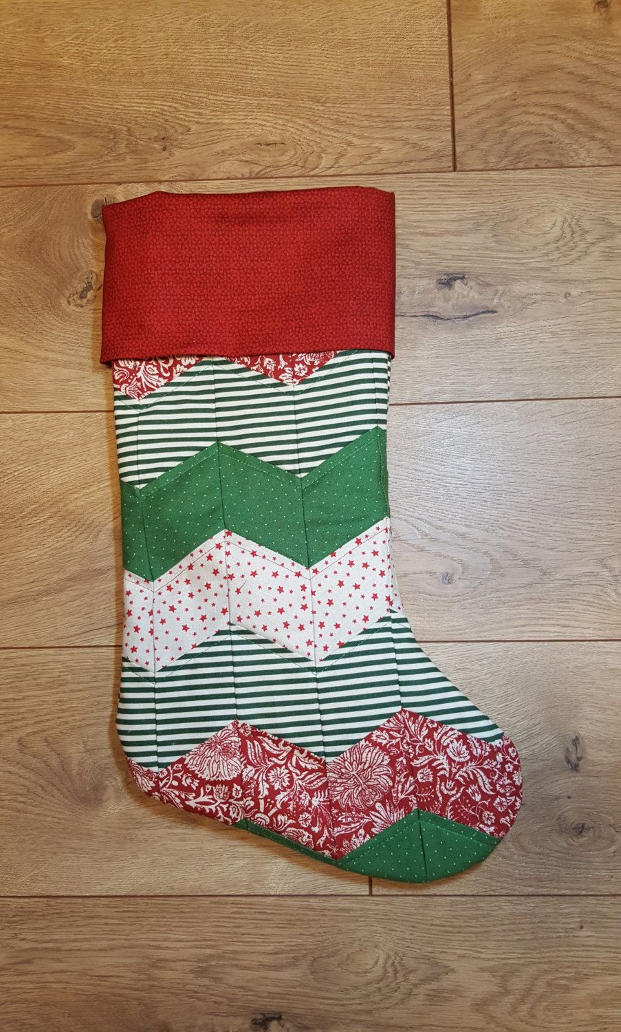 Personalized Christmas Stocking, Chevron Stocking, Red and ...