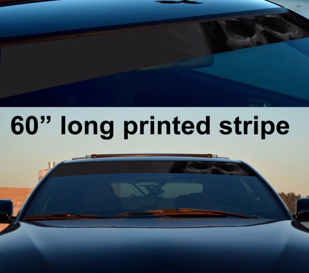 Car sticker design ebay - 60 Skull Shadow Dark Death Sun Strip Printed Windshield Car Vinyl Sticker Decal Ebay