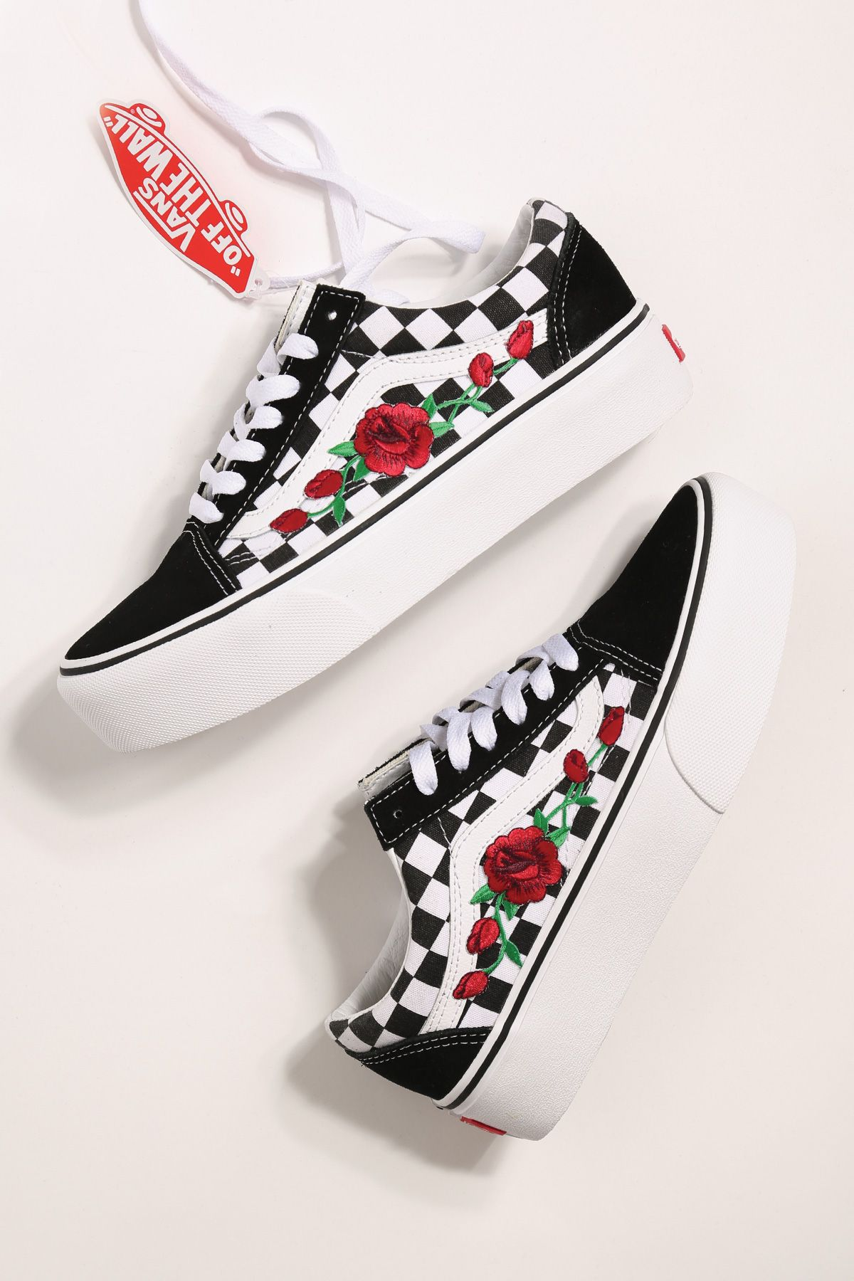 Custom rose vans platform checkered old skool en 2020 | Vans ...