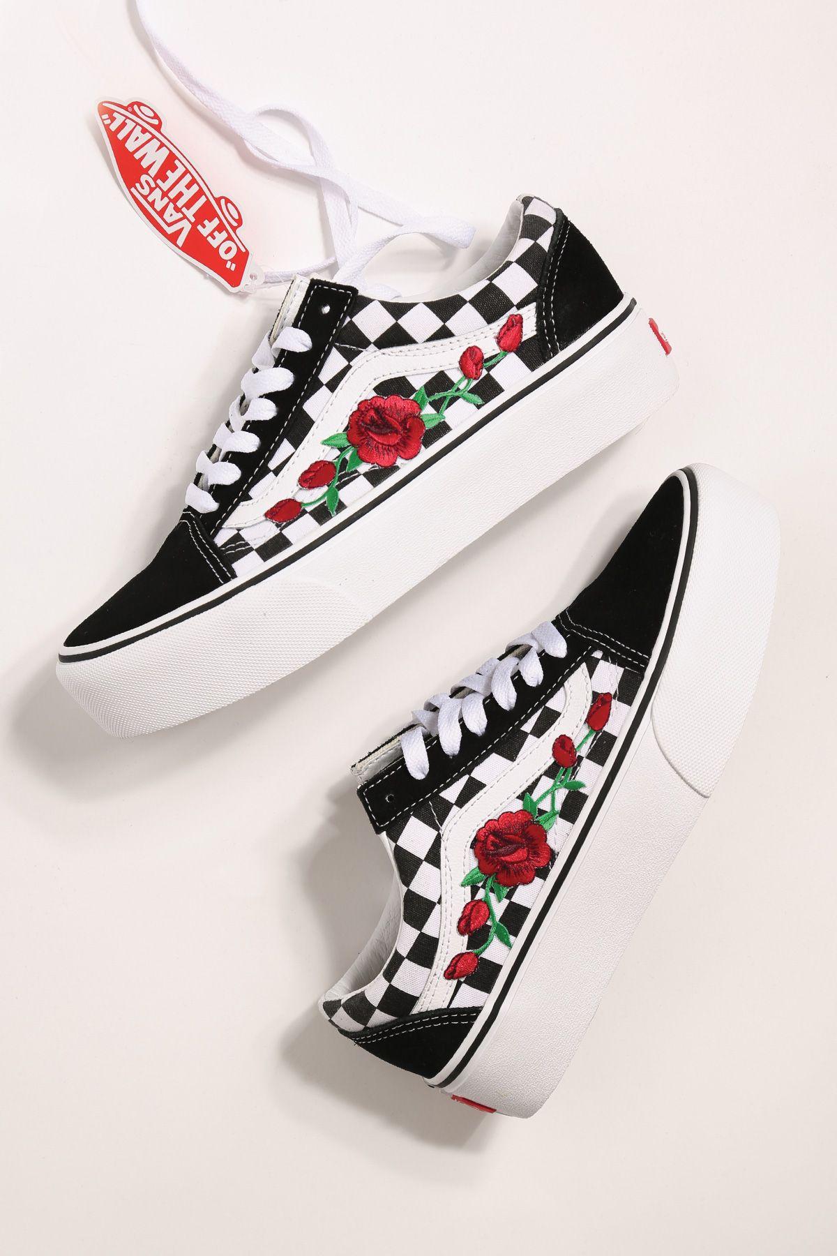 Old 2019 Vans E H In Platform S Skool Rose Checkered Custom O wIUZqO