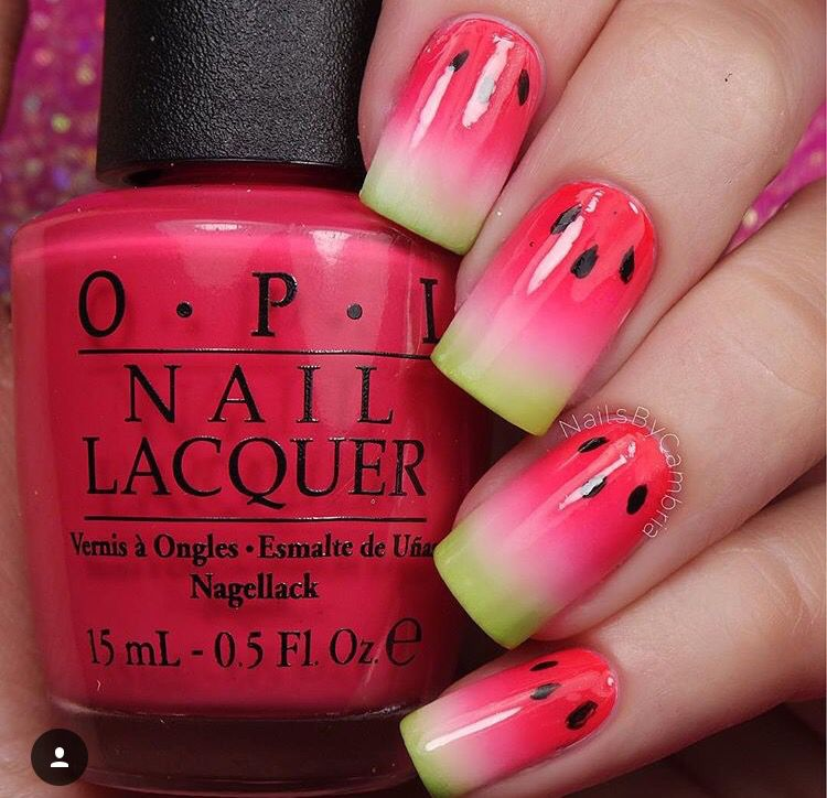 100 breathtaking ombre nails watermelon nail designs watermelon 100 breathtaking ombre nails prinsesfo Images