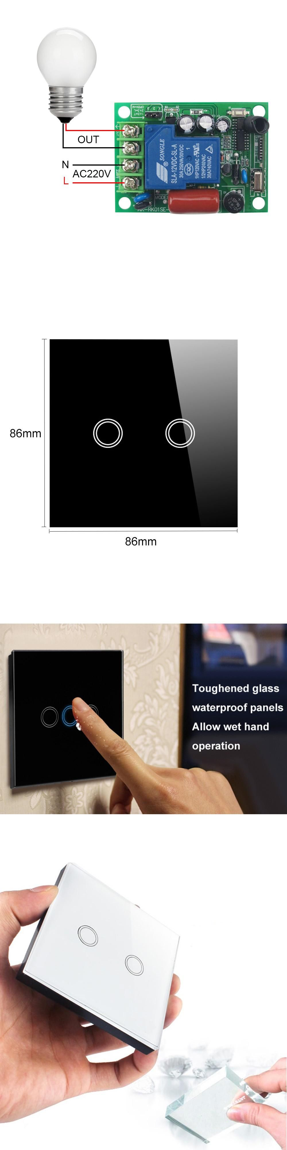 radio light way hand white with via touch rf pairing controller gang held glstouch glass smart panel multi dp switch frequency control