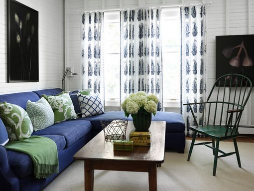 Room · Blue Sofa ... - Blue Sofa Design Ideas With Wooden Table Chairs Vase Flower