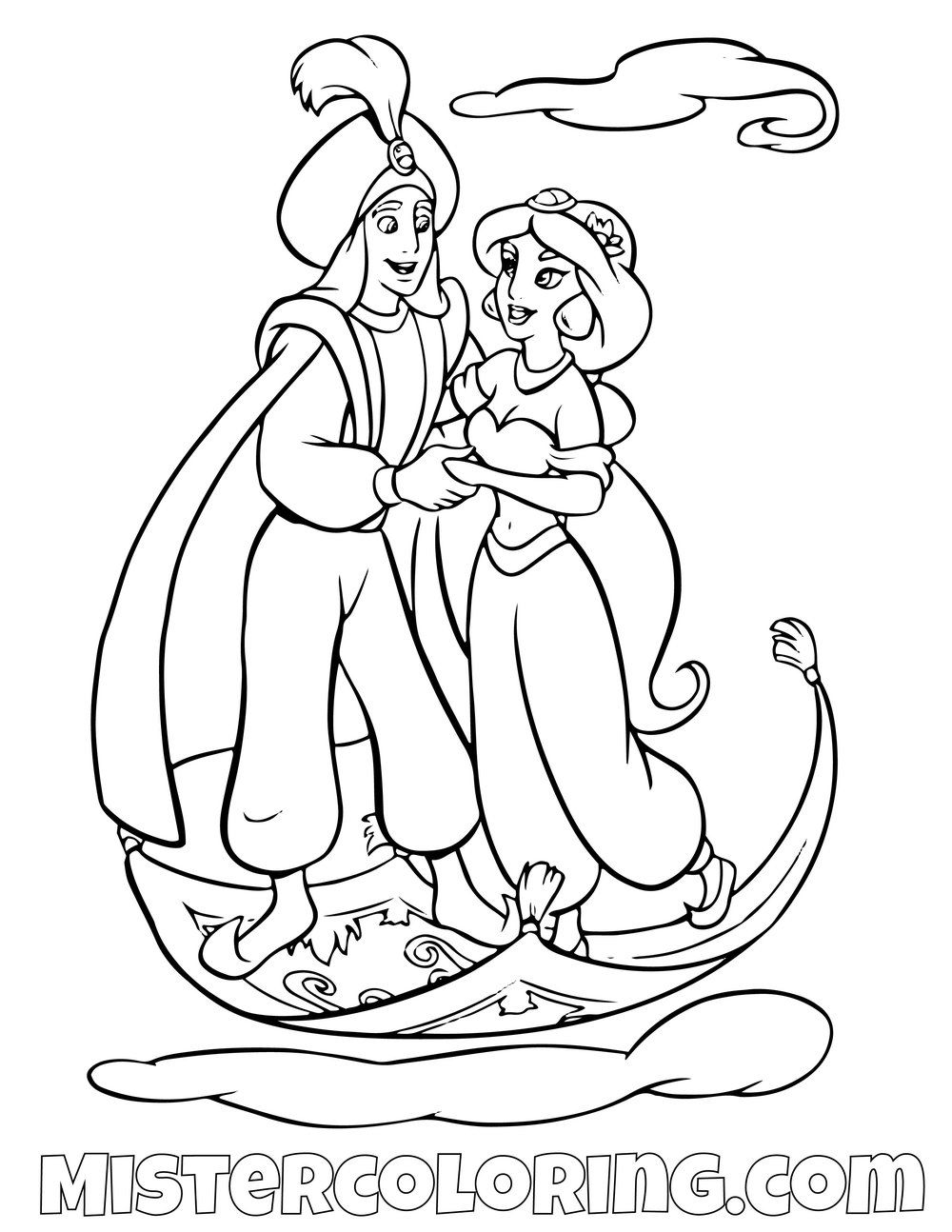 Aladdin And Princess Jasmine Riding Carpet Aladdin Coloring Page