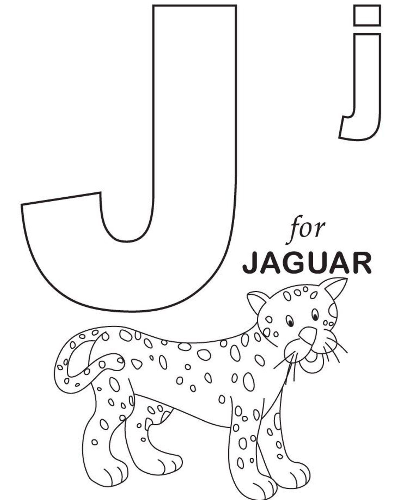 Jaguar Alphabet Coloring Page Letras dobles, Letra j
