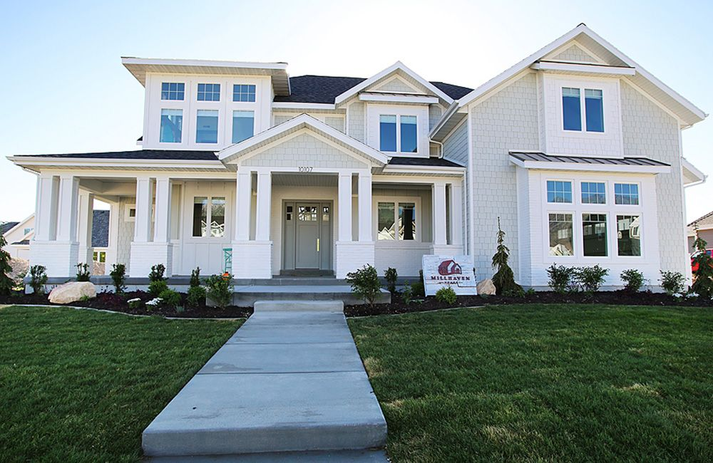 Millhaven Homes Custom Homes In Utah White Exterior Houses House Exterior Craftsman House