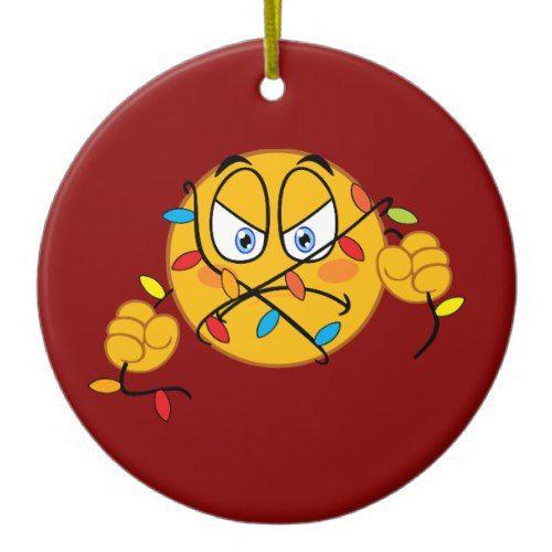 Christmas Lights Emoji Ornament Zazzle Com In 2020 Emoji Christmas Christmas Lights Ornaments
